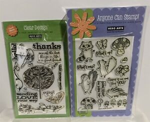 Hero Arts WOODLAND CREATURES Bird Trees Nature Rubber Stamps Lot