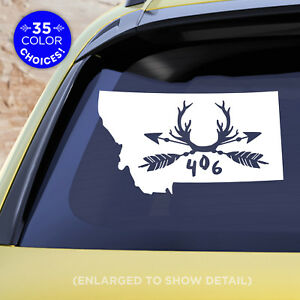 """Montana 1 or 2 color Decal with Arrows, Antlers and MT """"406"""" Rustic/Rugged"""