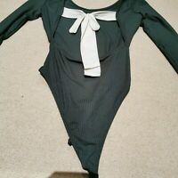 Top Shop Green Body Suit With Bow