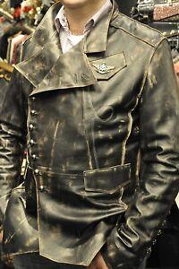 Steampunk Dieselpunk Style Leather Distressed Mens Tailored Biker Jacket Impero
