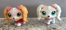 LPS Littlest Pet Maltese Lot Of 2 White Tan With Bows