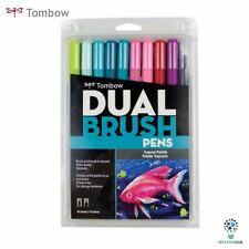 NEW! Tombow Dual Brush Pens |  9 Colours + 1 Blender Pen | Tropical Palette Set