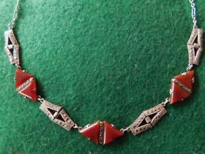 Exquisite Art Deco Sterling Silver Marcasite & Carnelian Necklace 1930s