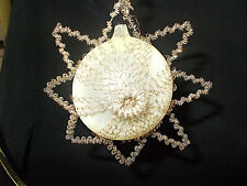 Ant. German Blown Glass Star W/Tinsel & Wire Wrapped Christmas Ornament