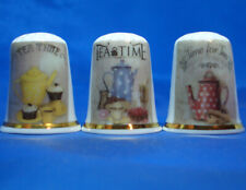 Birchcroft China Thimbles -- Set of Three -- Time for Tea Posters