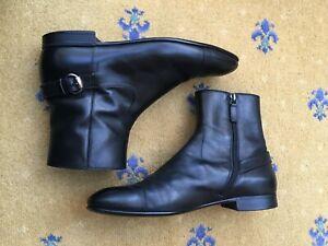 Gucci Men Shoes Black Leather Chelsea Dealer Boots UK 9 US 10 EU 43