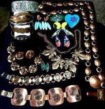 Vintage Signed jewelry lot copper sterling pewter Elephant Bracelet Earring Belt