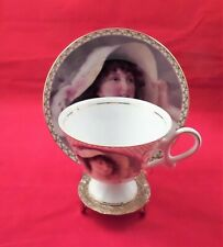 Portrait Cup abnd Saucer by Porcelain Treasures-Hand Decorated