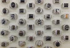 Bulk Mixed Lot 26pcs Nature Agate Rhinestone Silver P Men's Top Quality Big Ring