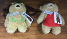 """COMMONWEALTH 8"""" TED THE BEAR PLUSH TALKING SET OF 2 RASTA & CHECKOUT TED"""