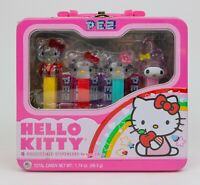 Hello Kitty Sanrio 4 Collectible Pez Dispensers With Metal Lunchbox Case - NEW