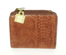 NWT FOSSIL JORI BAKED CLAY BROWN PYTHON RFID PROTECTED LEATHER BIFOLD WALLET NEW