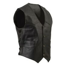 Men's Leather Vest w/ Side Lace, Stud & Concealed Zip Size L, Motorcycle Rider