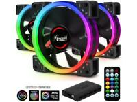 Rosewill 120mm True RGB LED Case Fans (3-Pack) and 8-Port Fan Hub, Ultra Quiet C