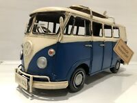 Tin Vintage Transport Dark Blue Model VW Volkswagen Camper Kombi Van Surfboards