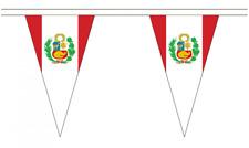 Peru Crest 5M Triangle Flag Bunting - 12 Flags - Triangular
