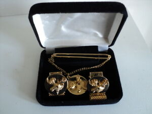 Mens Vintage Gold Plated Stag Cufflinks and Tie Pin Set With Red Stone Eyes