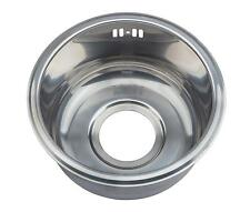 Compact Sink Single 1 Round Bowl Inset Stainless Steel Boat Caravan Kitchen M12