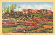 HARRISBURG, PA  Pennsylvania  WM PENN HIGH SCHOOL & Italian Garden 1944 Postcard