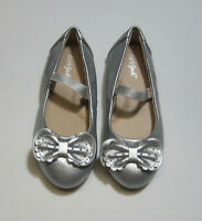 NWT, Toddler Girls Carrie Cinched Bow Ballet Flats Silver, Cat & Jack