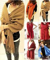Women Wool Blend Long Warm Scarves Soft Wrap Scarf Tassels Winter Warm Shawl ##