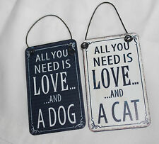 MINI METAL DANGLER' ALL YOU NEED IS LOVE AND A CAT CAR ,DOOR HANGING