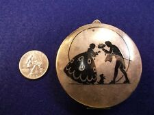 RARE VTG ANTIQUE VICTORIAN ERA? STERLING SILVER MAKE-UP COMPACT, +3 SILHOUETTES