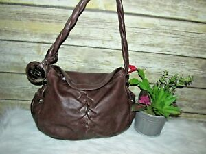 B. Makowsky Brown Genuine Leather Front Pleating Accent Purse Shoulder Bag Hobo