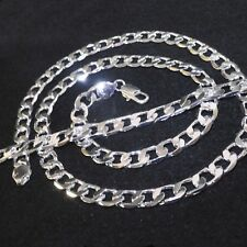 "Mens Polished 925 Silver Filled 24"" long Necklace Chain Bracelet Jewellery Set"
