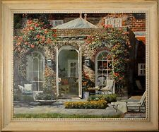 Stunning Oil Painting of Large Brick Home & Patio, Beautiful Decorating Art!!