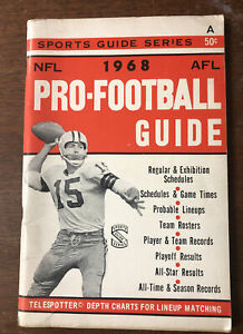RARE 1968 AFL Guide NFL Guide 96 Pages Buffalo Bills AFL Boston Patriots