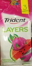 NEW TRIDENT WATERMELON TROPICAL FRUIT GUM 3 PACKS FOURTEEN STICK PACKAGES
