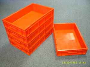 5 Red Nearly New Plastic Storage Removal Crates Box Container 6L