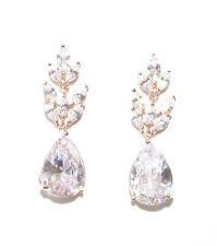 Rose Gold High Quality Cubic Zircon Earrings Teardrop Stud 1920s Bridal Vtg 1233