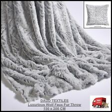 SILVER GREY WOLF FAUX FUR THROW BLANKET & CUSHION COVER SOFA CHAIR BED BEDDING