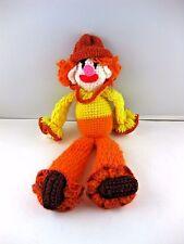 "Clown Soft Body OOAK Folk Art Hand Made Crochet Orange & Yellow 18"" Long VTG"
