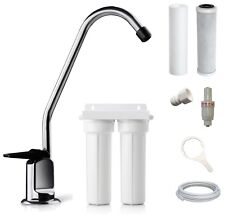 Twin Under Sink Water Filter System + Faucet Tap + Carbon Filters + Valves