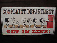 METAL SIGN* PEANUTS SNOOPY GET IN LINE LUCY CHARLIE BROWN SALLY CHARACTERS red