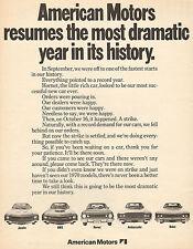 LARGE 1969 AMERICAN MOTORS AMC JAVELIN & HORNET & REBEL & AMX CAR AD