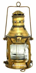 "Antique Brass 10"" Ship Lamp Boat Oil Lantern Maritime Collectible Home Decor"