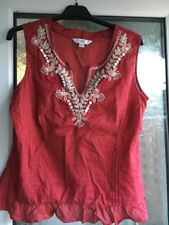 NEXT SIZE 14 RED TUNIC SUMMER PIN TUCK TOP WITH EMBROIDERED & BUTTON DESIGN