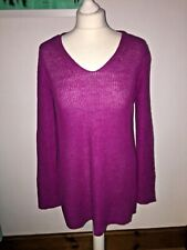 EILEEN FISHER purple loose knit v neck organic cotton jumper size XS