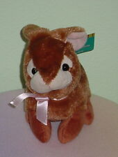 MINI BROWN BUNNY *BIG EYES * PINK NOSE * PINK BOW * NEW * CUTE * 7 INCH *