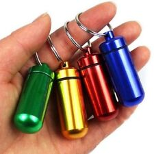 Portable Small Aluminum Waterproof Pill Bottle Cache Drug Container Keychain-c