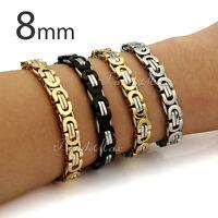 8MM Armkette Herren Armband aus Edelstahl Hochglanz Geschenk