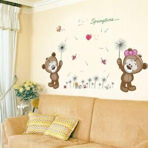 Wall Sticker Kids Room Decorations Brown Bears Home Decor Nursery Wall Decal