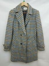 Next Ladies coat double breasted button fastening wool blend plaid size 12 02