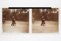 Danza Ballo IN Aperto Foto N3 Placca Stereo 6x13cm Vintage