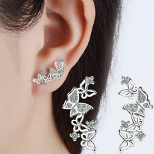 Women White Gold Plated Cubic Zircon Butterfly Animal Ear Stud Earrings