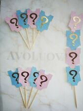 10 Glitter Gender Reveal Party Decoration Cupcake Pick Toppers Food Cake Flags